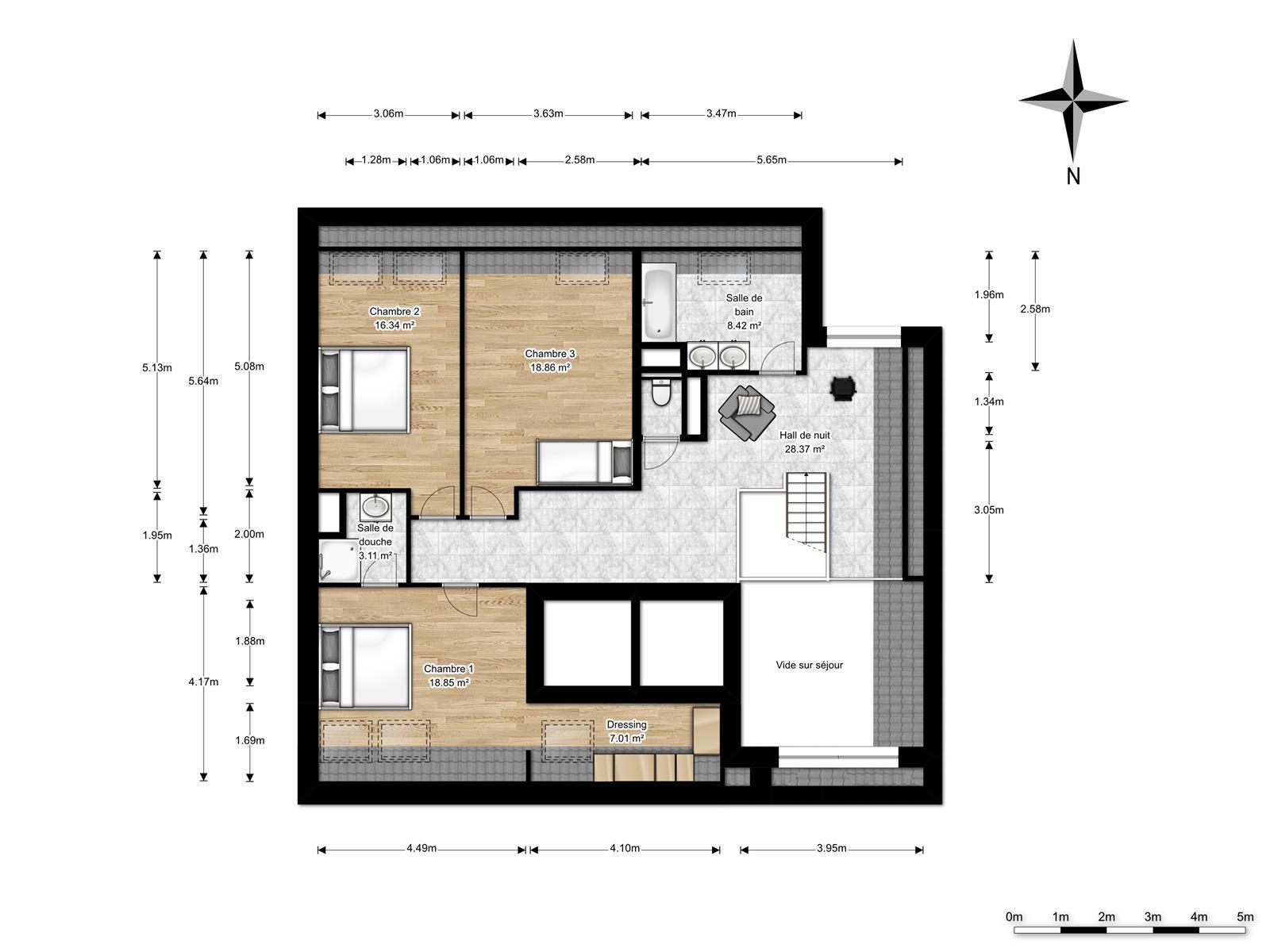 Appart. en duplex avec 3 ch, 2 sdb, 2 terrasses