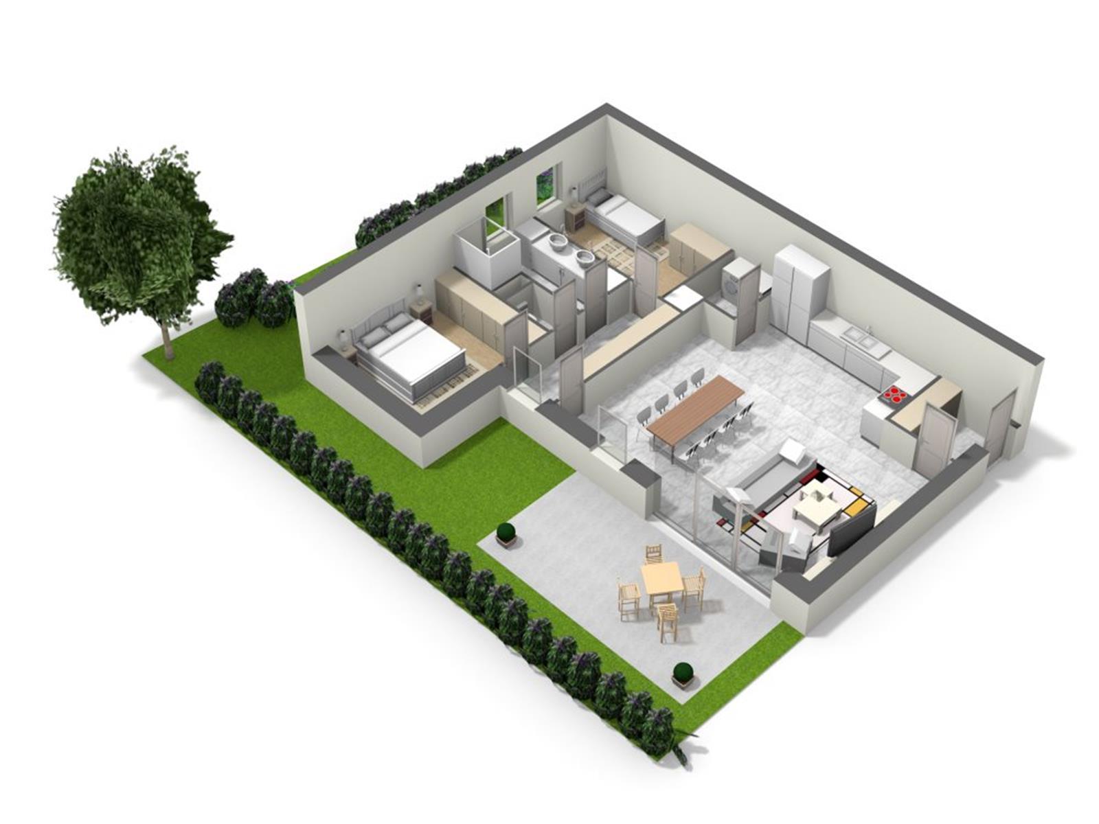 Appartement avec terrasse, jardin et 2 emplacements de parking